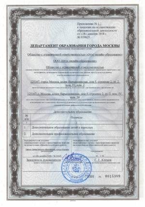 Приложение №1.1 к лицензии